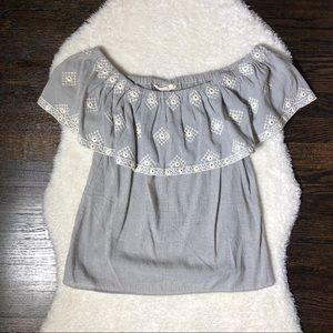 Love Stitch Off the Shoulder Embroidered Top